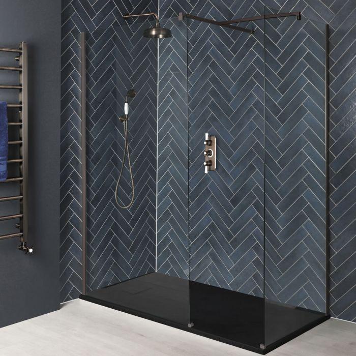 Douche italienne d'angle avec receveur à effet texturé – Tailles multiples – Bronze mat - Augusta