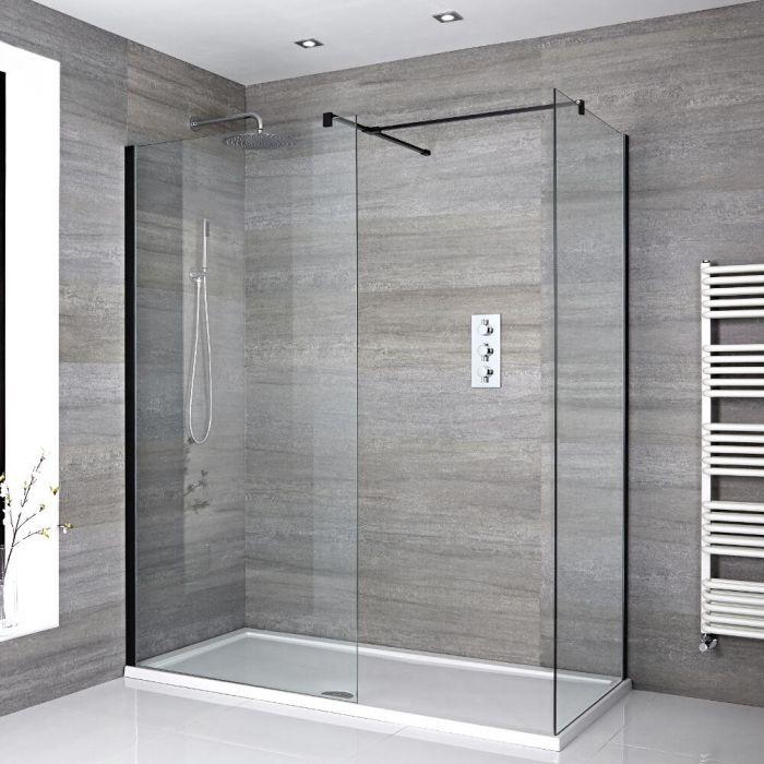 Douche italienne d'angle avec receveur de douche – Multiples tailles disponibles – Nox