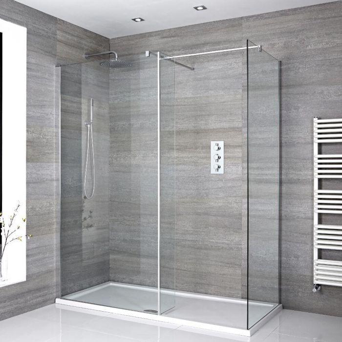 Douche italienne d'angle avec receveur de douche et paroi de retour – Multiples tailles disponibles – Portland