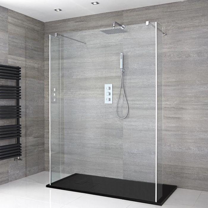 Douche italienne en îlot avec receveur de douche à effet texturé et parois retour – Multiples tailles disponibles – Portland