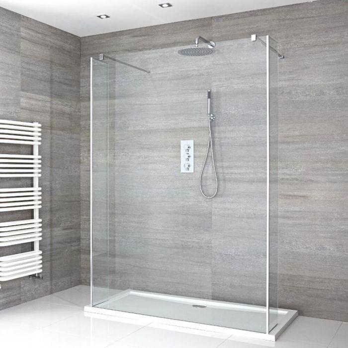 Douche italienne en îlot avec receveur de douche et parois de retour – Multiples tailles disponibles – Portland