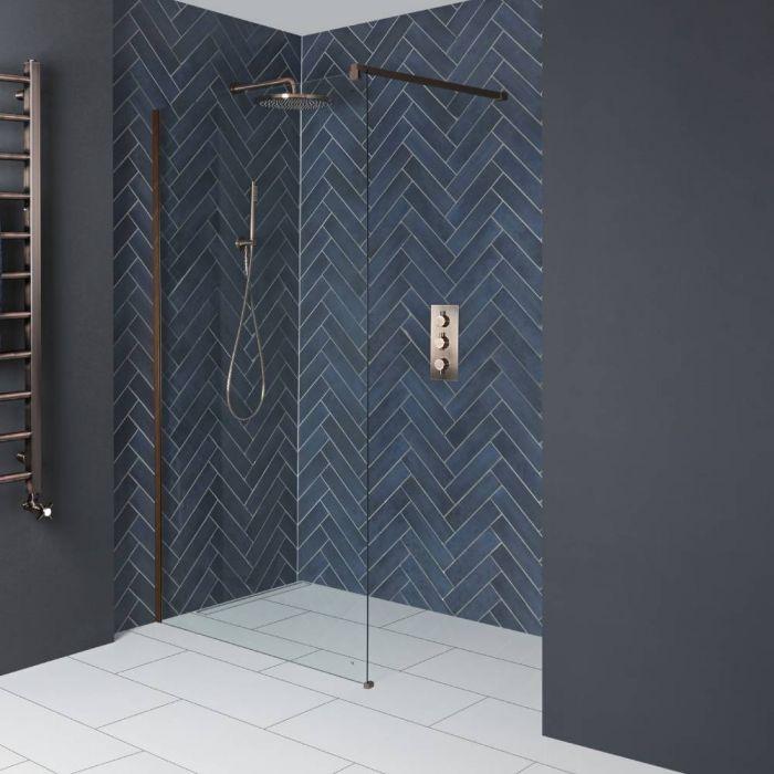 Paroi de douche italienne -195 cm – Cuivre mat – Choix de tailles - Vara