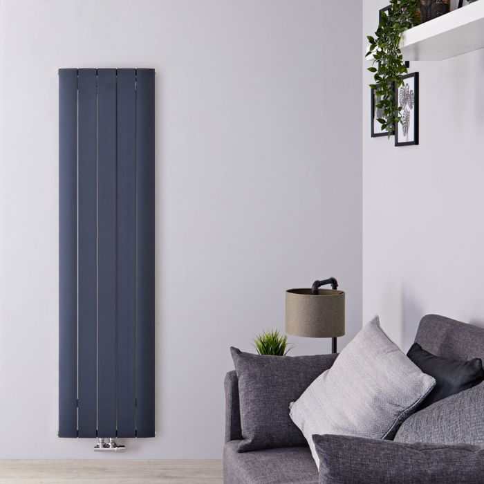 Radiateur Design Vertical Raccordement Central Aluminium Anthracite Aurora 160cm x 47cm x 4,6cm 1701 Watts