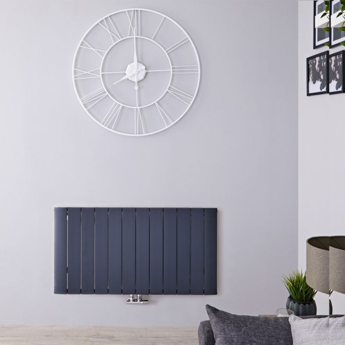 Radiateur Design Horizontal Raccordement Central Aluminium Anthracite Aurora 60cm x 113,5cm x 4,6cm 1535 Watts