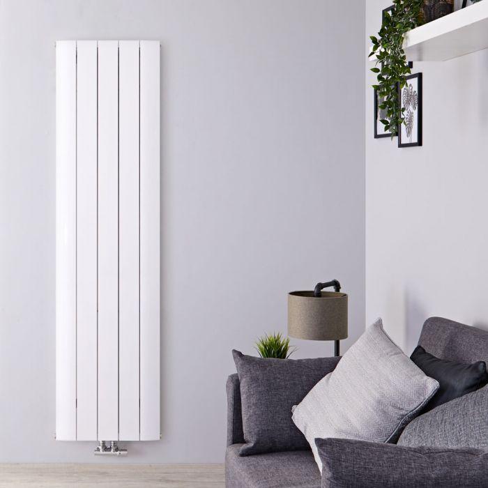 Radiateur Design Vertical Raccordement Central Aluminium Blanc Aurora 160cm x 47cm x 4,5cm 1701 Watts