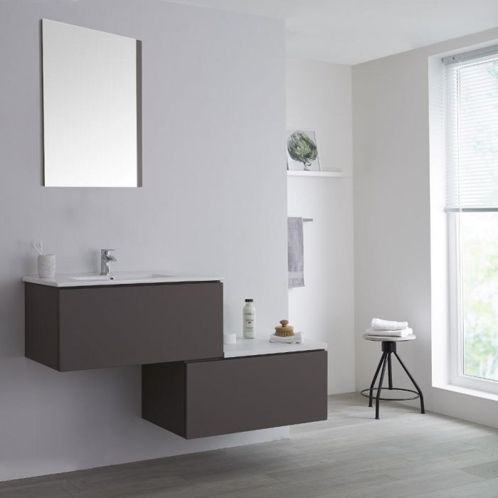 Meuble salle de bain avec vasque Gris Newington - 140cm
