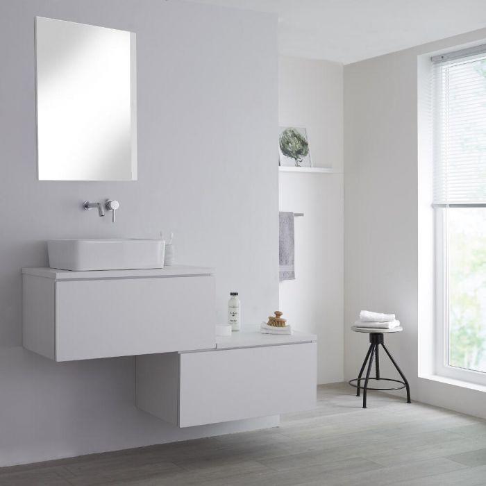 Meuble pour vasque à poser Blanc Newington - 140cm