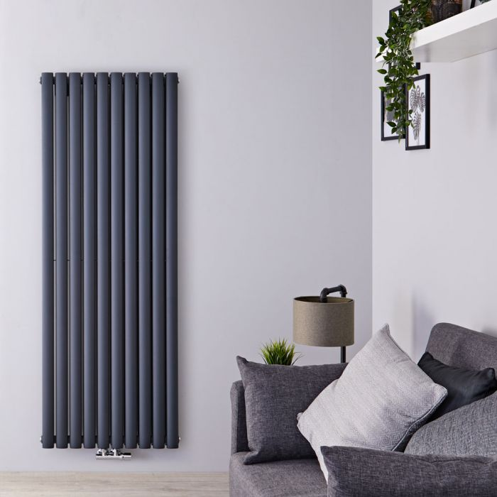 Radiateur Design Vertical Raccordement Central Anthracite Vitality Caldae 160cm x 59cm x 7,8cm 2148 Watts