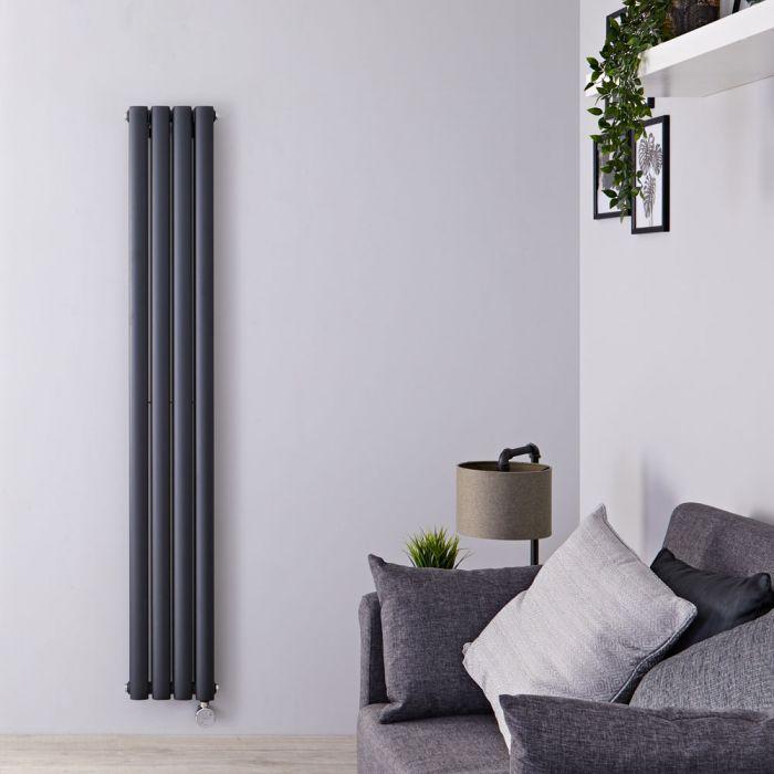 Radiateur Design Électrique Vertical Anthracite Vitality 160cm x 23,6cm x 7,8cm