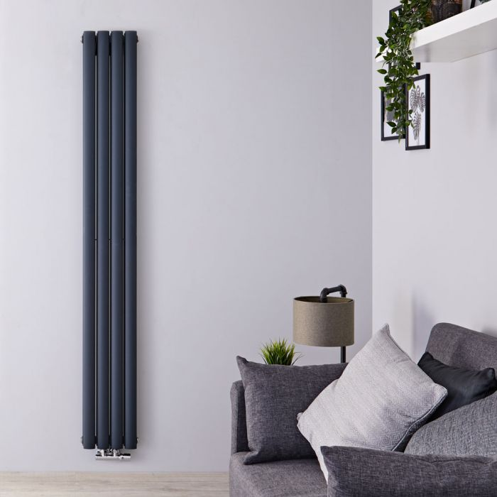 Radiateur Design Vertical Raccordement Central Anthracite Vitality Caldae 160cm x 23,6cm x 7,8cm 858 Watts
