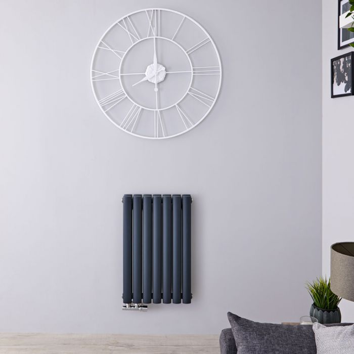 Radiateur Design Horizontal Raccordement Central Anthracite Vitality Caldae 63,5cm x 41,5cm x 7,8cm 729 Watts