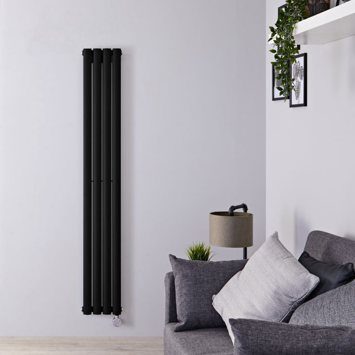 Radiateur design électrique vertical - Noir - 160 cm x 23,6 cm x 5,6 cm - Vitality