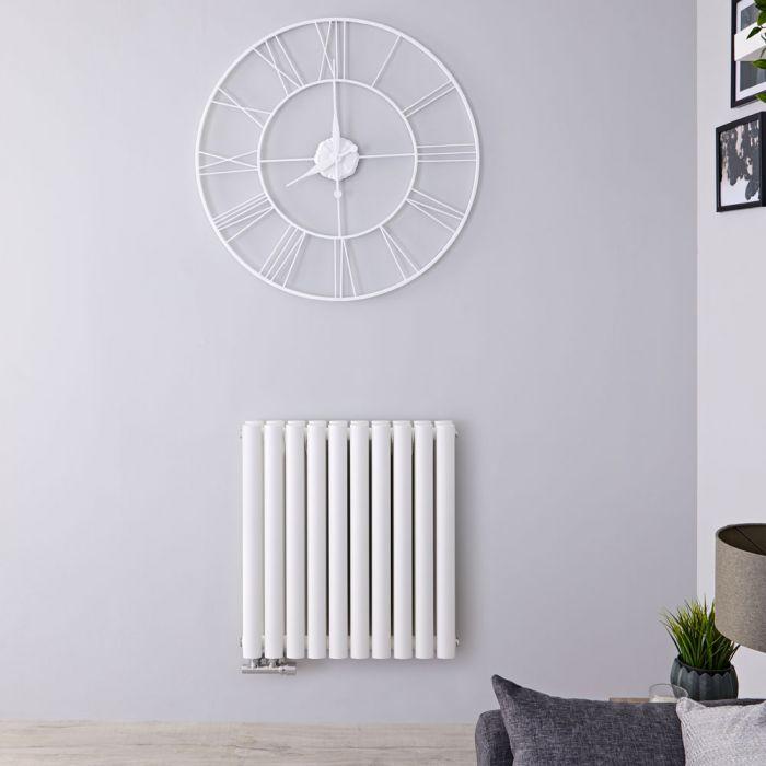 Radiateur Design Horizontal Raccordement Central Blanc Vitality Caldae 63,5cm x 59cm x 7,8cm 1042 Watts