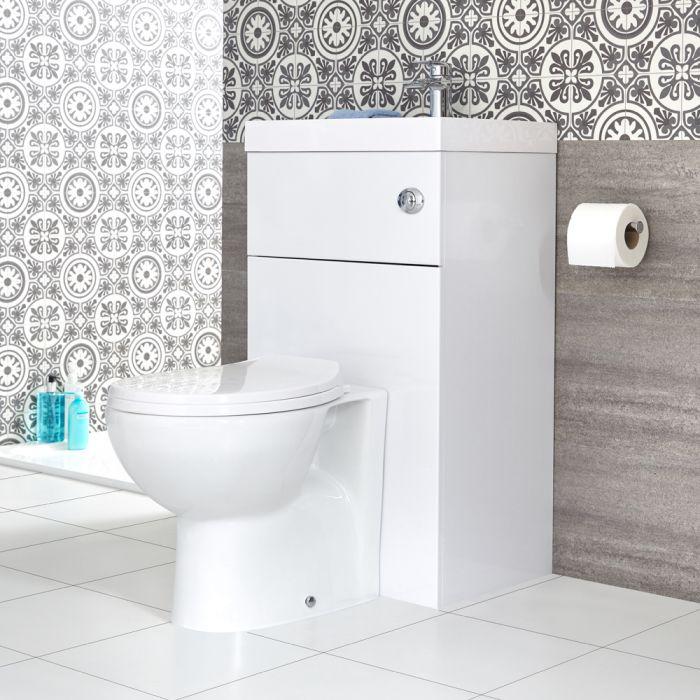 WC avec lave main moderne - Blanc - 50 cm x 89 cm - Cluo