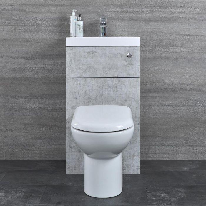 WC avec Lave Main Gris béton & Blanc Géométrique