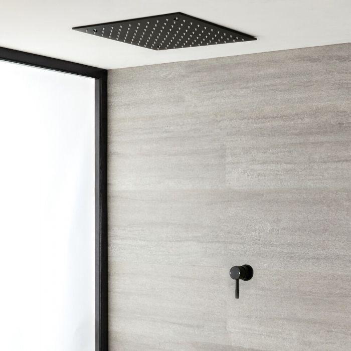 Mitigeur douche manuel encastré noir & pommeau de douche carré encastré de 40 cm - Nox