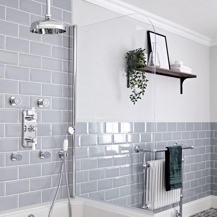Kit de douche thermostatique à 3 fonctions avec inverseur - Pommeau de douche Ø 20 cm, kit douchette et buses hydromassantes – Chromé et blanc - Elizabeth