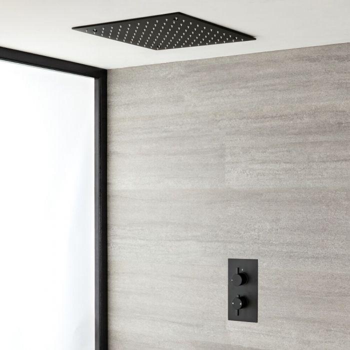 Mitigeur douche noir double encastré et pommeau de douche carré encastré 40 cm – Nox