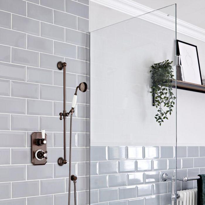 Kit de douche thermostatique 1 fonction – Douchette sur rampe – Bronze huilé - Elizabeth
