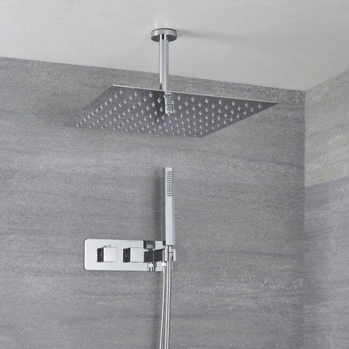 Kit Douche Encastrable Pommeau Plafond Carré 40cm & Douchette Arvo