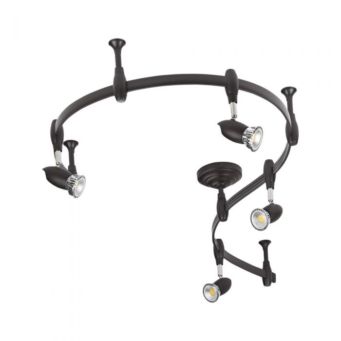 Biard Spot LED Pack de 4 & Rail Flexible 2m Forio Noir