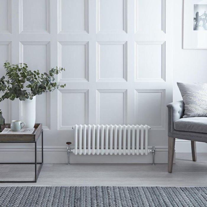 Radiateur Horizontal Style Fonte Blanc Windsor 30cm x 60,5cm x 10cm 525 Watts