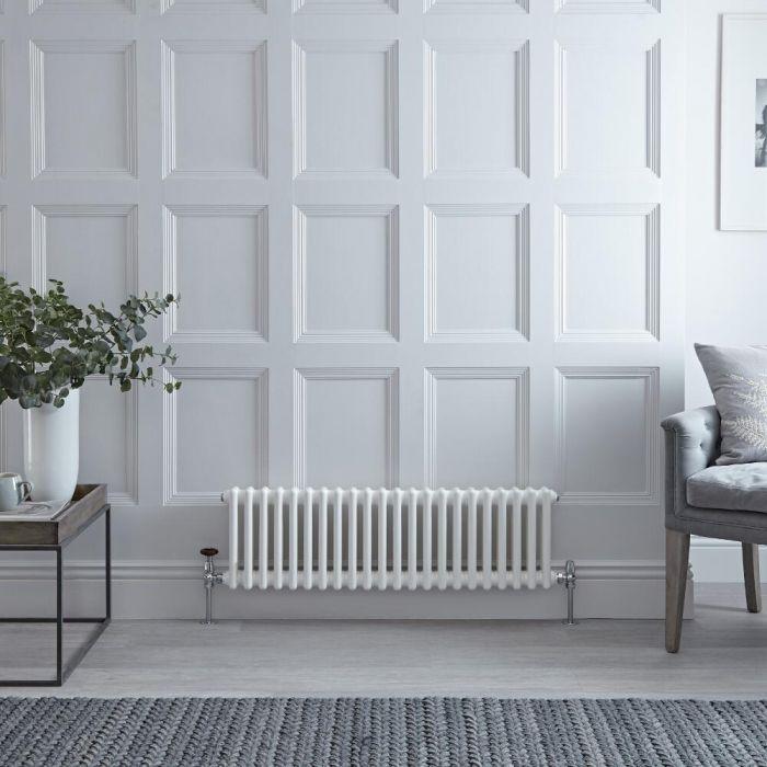 Radiateur Horizontal Style Fonte Blanc Windsor 30cm x 101cm x 6,8cm 700 Watts