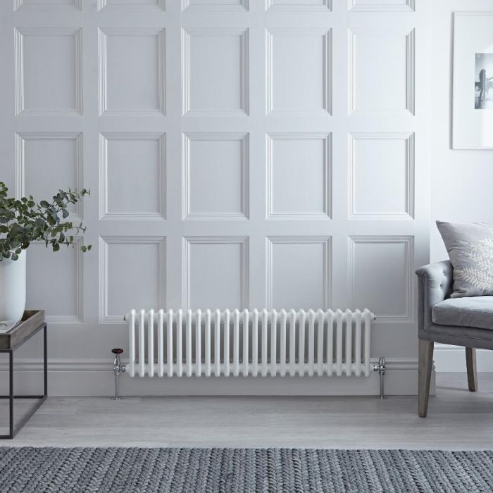 Radiateur Horizontal Style Fonte Blanc Windsor 30cm x 119cm x 6,8cm 827 Watts