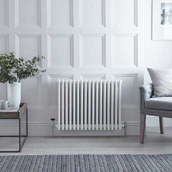 Radiateur horizontal à colonnes style fonte rétro - Blanc – 60 cm x 78,5 cm - Windsor