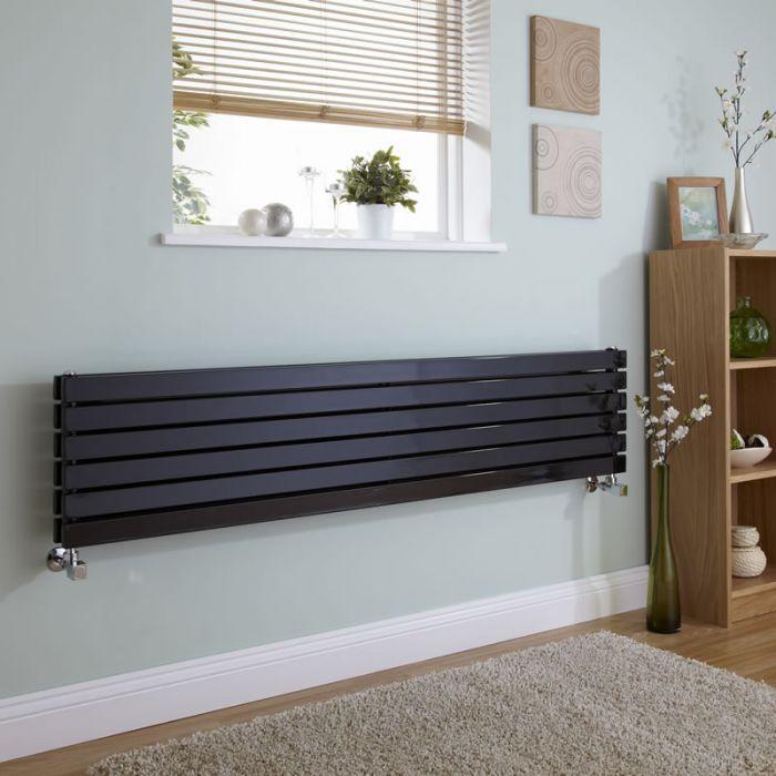 Radiateur Design Horizontal Noir Sloane 35,4cm x 160cm x 7,4cm 1308 Watts