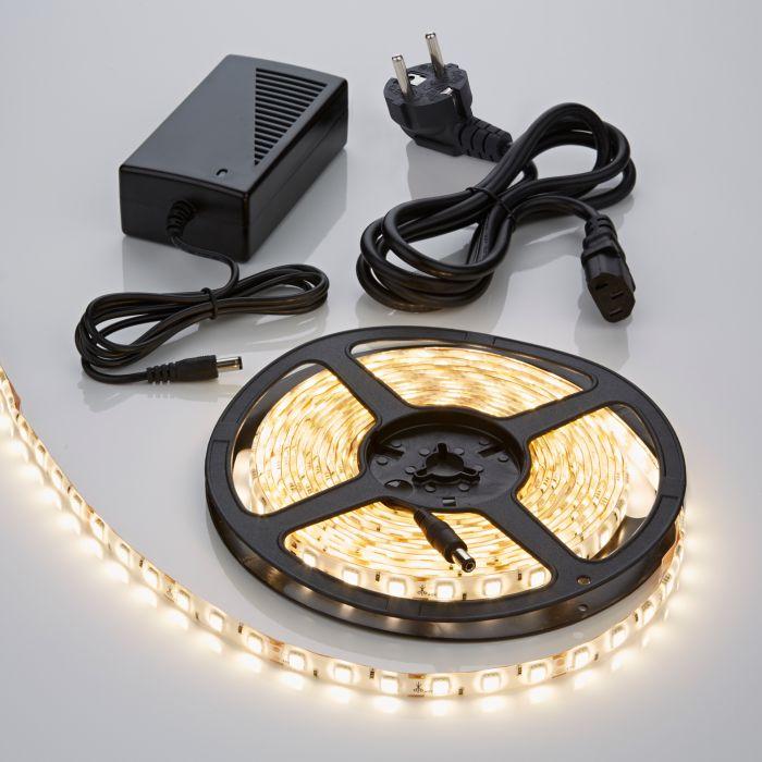 Biard Bande lumineuse 5 mètres 300 LED résistante à l'eau blanc chaud 5050 avec alimentation électrique