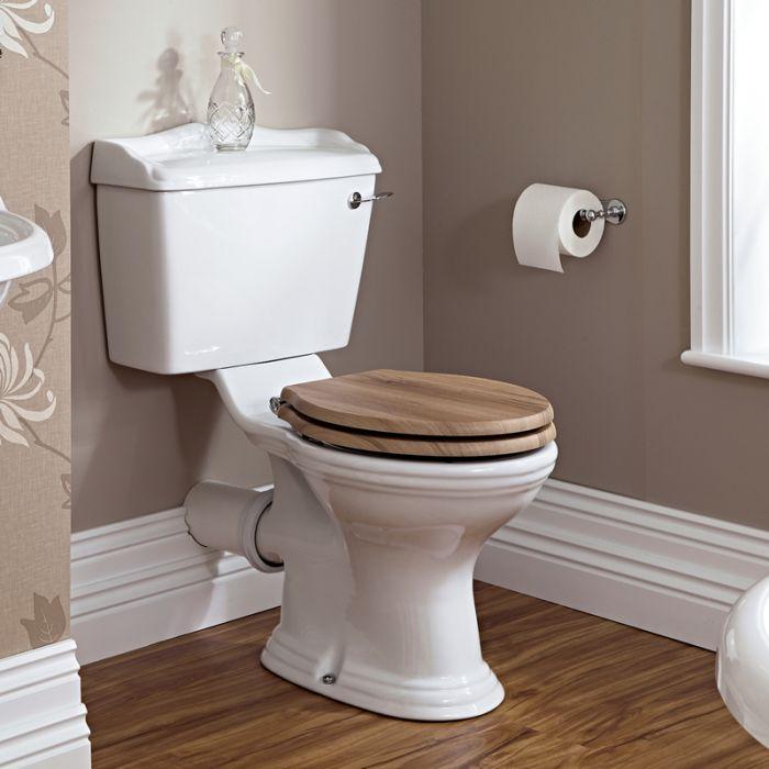 Toilette WC rétro & abattant chêne Ryther