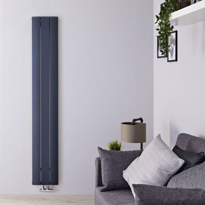 Radiateur Design Vertical Raccordement Central Aluminium Anthracite Aurora 160cm x 28cm x 4,6cm 920 Watts