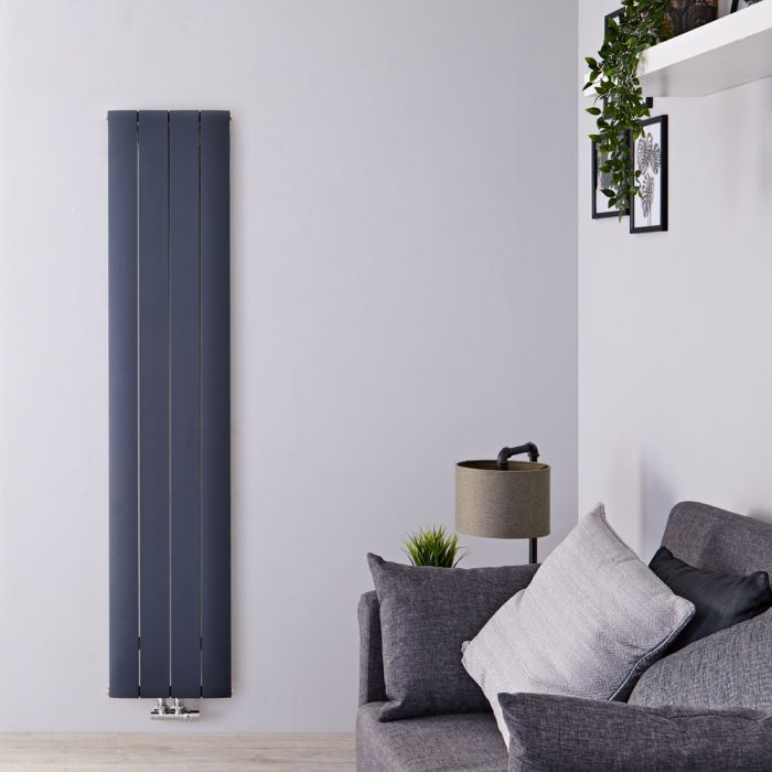 Radiateur Design Vertical Raccordement Central Aluminium Anthracite Aurora 160cm x 37,5cm x 4,6cm 1361 Watts