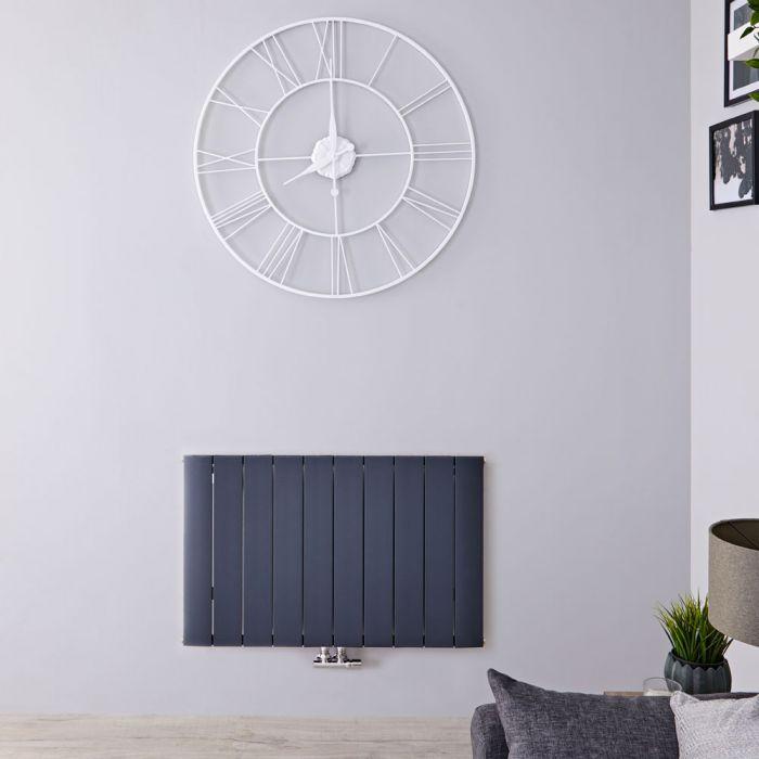 Radiateur Design Horizontal Raccordement Central Aluminium Anthracite Aurora 60cm x 94,5cm x 4,6cm 1153 Watts