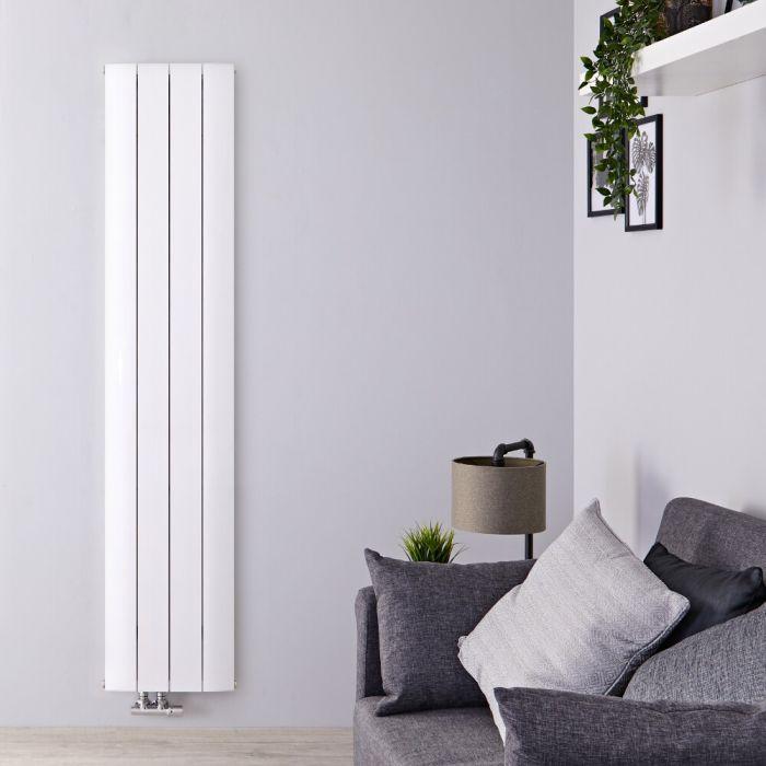 Radiateur Design Vertical Raccordement Central Aluminium Blanc Aurora 160cm x 37,5cm x 4,5cm 1226 Watts