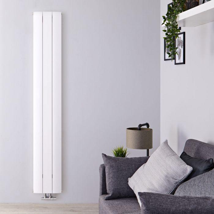 Radiateur Design Vertical Raccordement Central Aluminium Blanc Aurora 180cm x 28cm x 4,6cm 1038 Watts