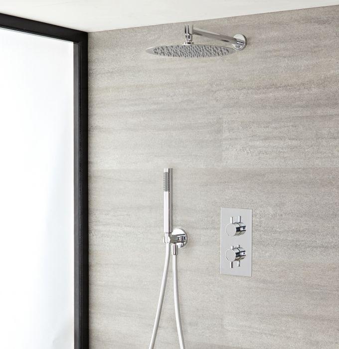 Kit douche thermostatique avec pommeau de douche, douchette et mitigeur encastrable - Como