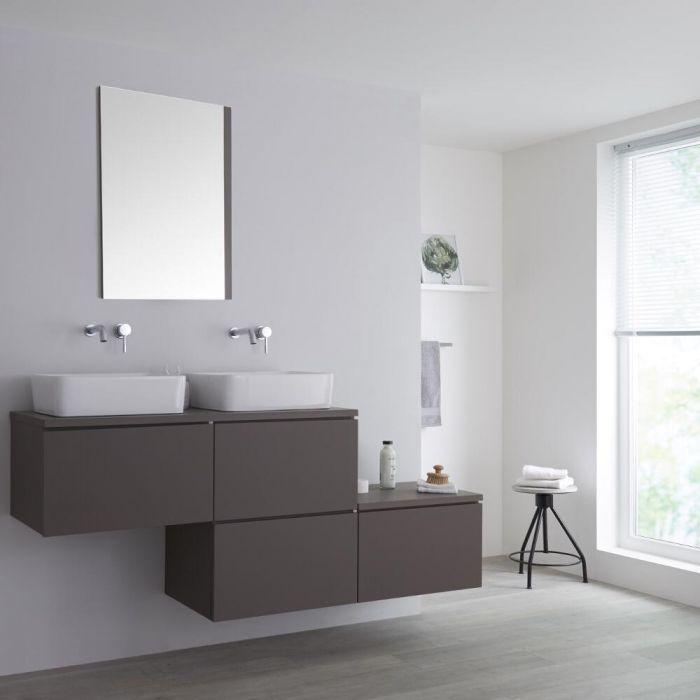 Meuble double vasque à poser gris mat Newington - 180cm