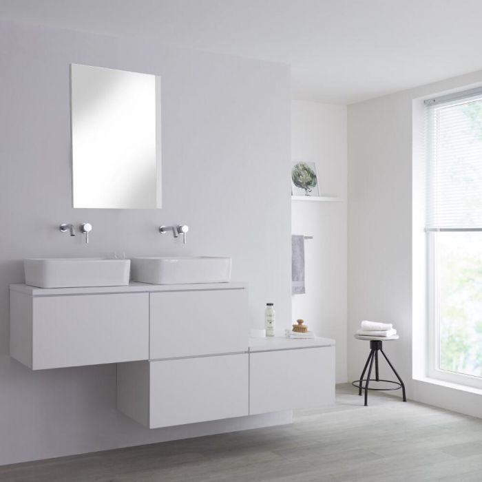 Meuble double vasque à poser blanc Newington - 4 tiroirs - 180cm