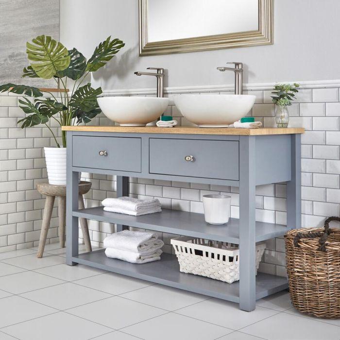 Meuble sous lavabo avec double vasques rondes – 124 cm – Gris clair - Stratford