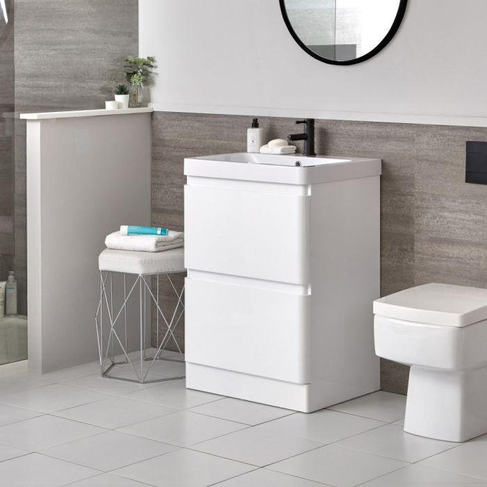 Meuble-lavabo blanc – 60 cm – Plan vasque en résine - Daxon
