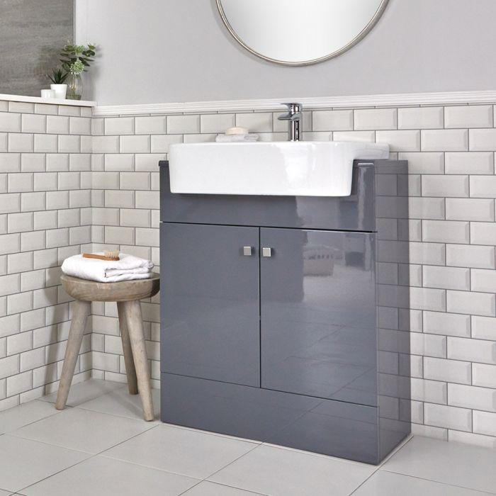 Meuble-lavabo gris – 67 cm – Lavabo en céramique - Atticus