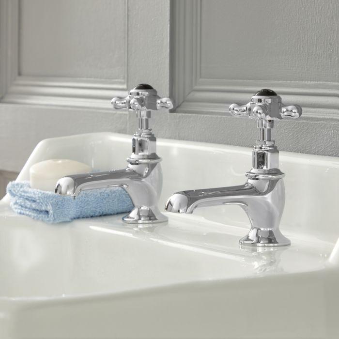 Robinets lavabo rétro en croisillons – Chromé et noir - Elizabeth