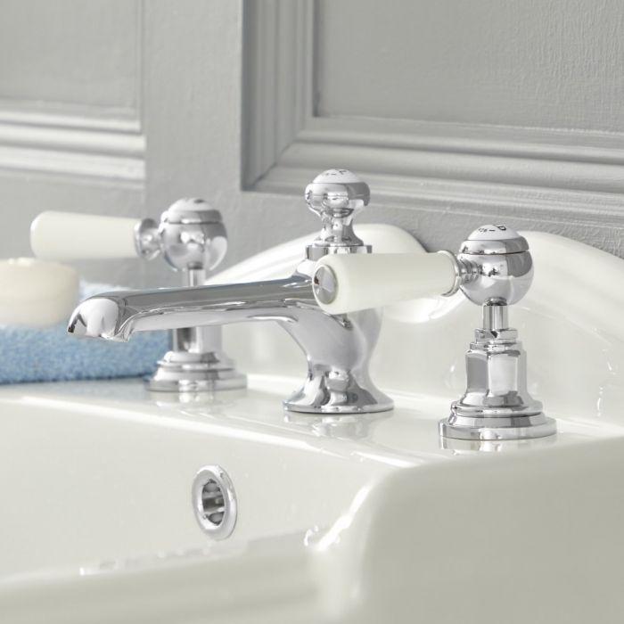Mélangeur lavabo 3 trous – Commandes leviers - Chromé et blanc - Elizabeth