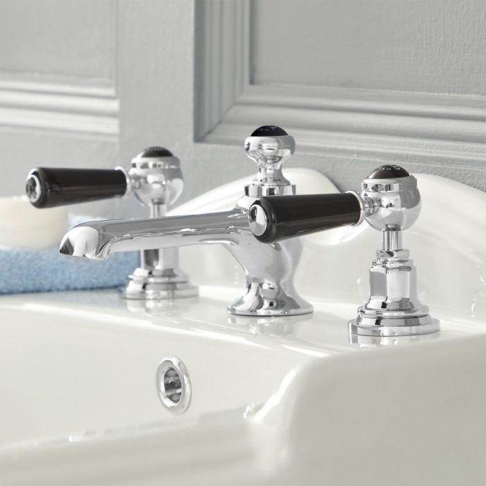 Mélangeur lavabo 3 trous – Commandes leviers - Chromé et noir - Elizabeth