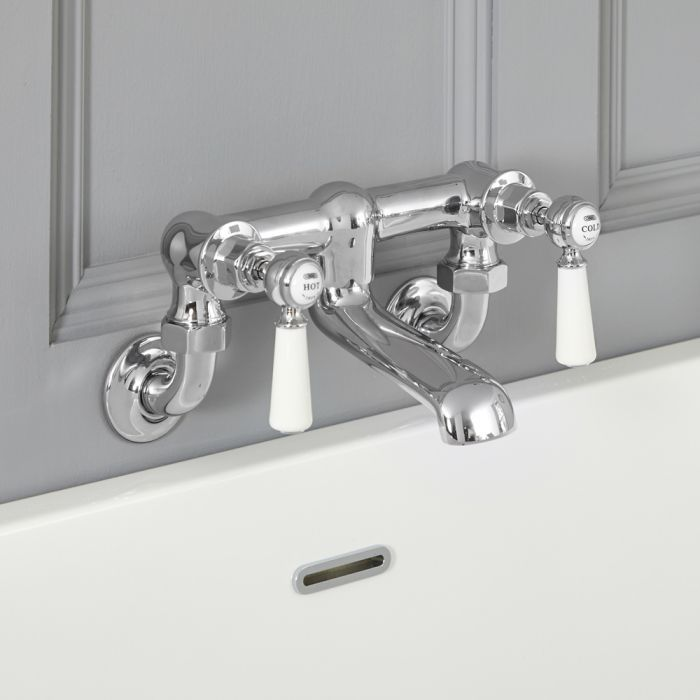 Robinet mural rétro pour baignoire – commandes leviers – chromé et blanc – Elizabeth
