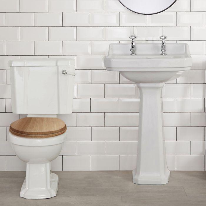 WC rétro - Abattant effet chêne - Legend