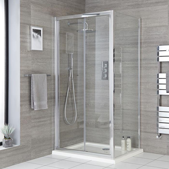 Cabine de douche d'angle - Porte pliante deux volets et receveur – Tailles multiples - Portland