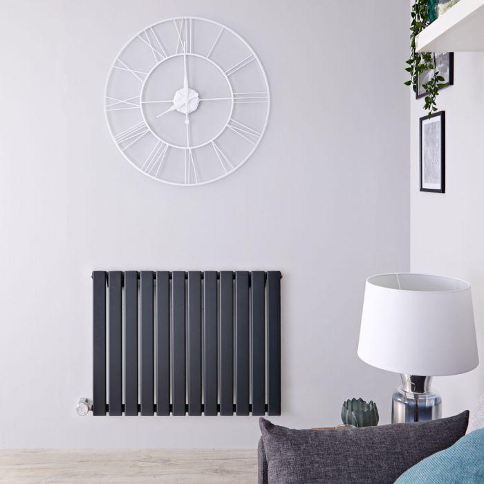 Radiateur design électrique horizontal - Anthracite - 63,5 cm x 84 cm x 4,6 cm - Delta